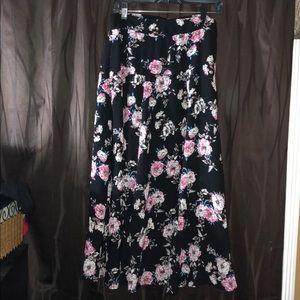 Long Floral Flowy Skirt